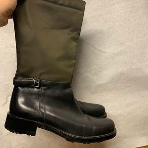 Prada black leather tall high boots olive nylon